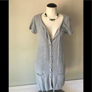Grey Drawstring Shortsleeved Sweaterdress